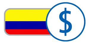Yellow blue red stripes currency flag buy Colombia peso online