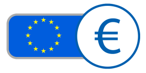 Blue yellow star circle currency flag france germany Ireland Italy Spain buy Euros online