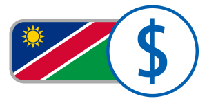 buy currency online flag namibia dollar green red blue yellow sun