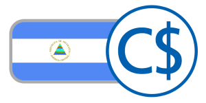 buy currency online flag nicaragua cordoba blue white crest pyramid