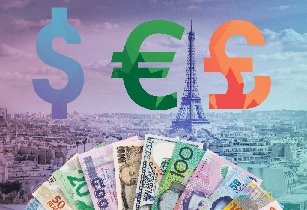 multi currency card cash dollar pound euro travel paris france